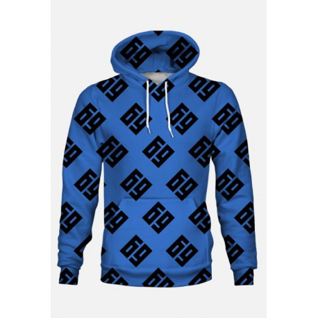 69 pattern big (bluza kapturowa fullprint) niebiesko-czarna 2-stronna
