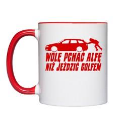 Wolę pchać Alfę, niż jeździć Golfem V2 (kubek kolor) czerwona grafika